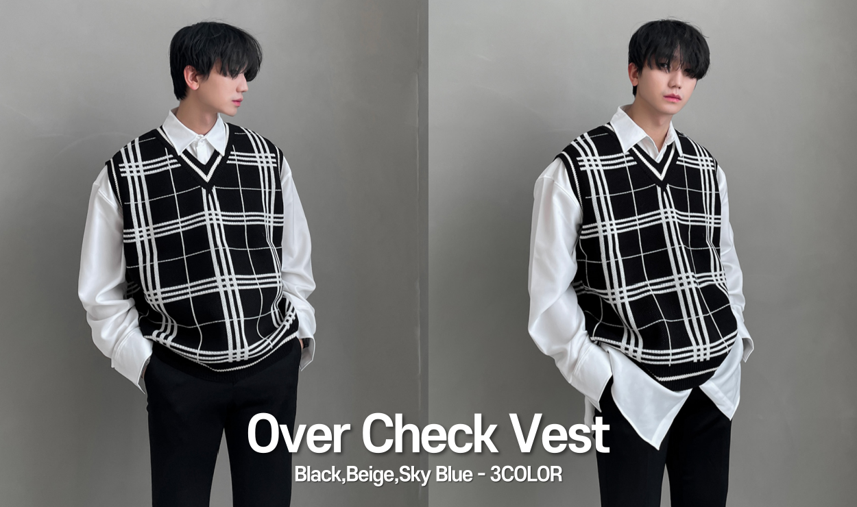 Over Check Vest (3color)
